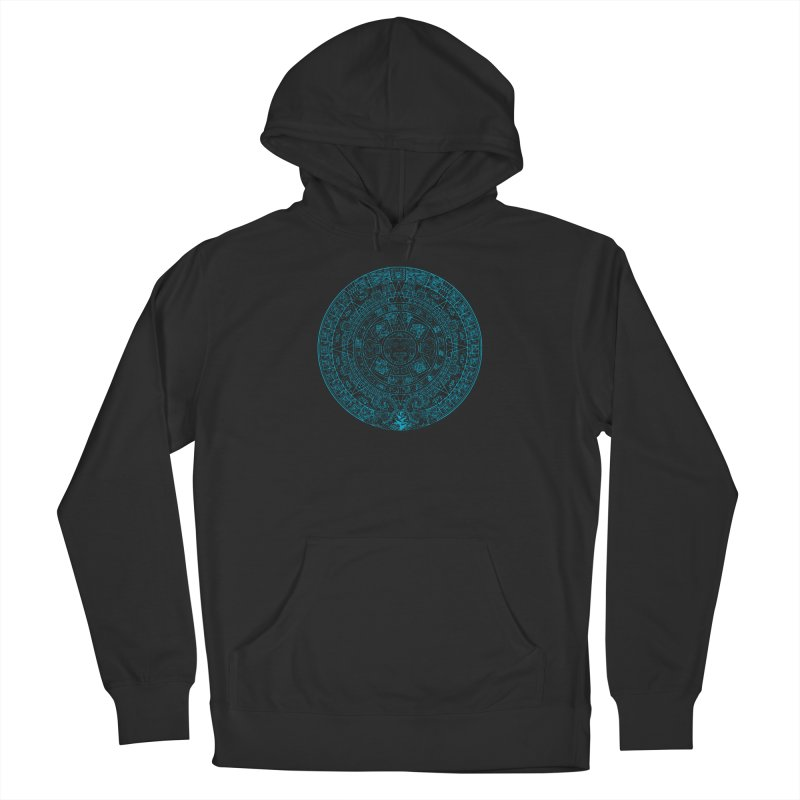 Mayan Calendar Aqua Men's French Terry Pullover Hoody by Caribea
