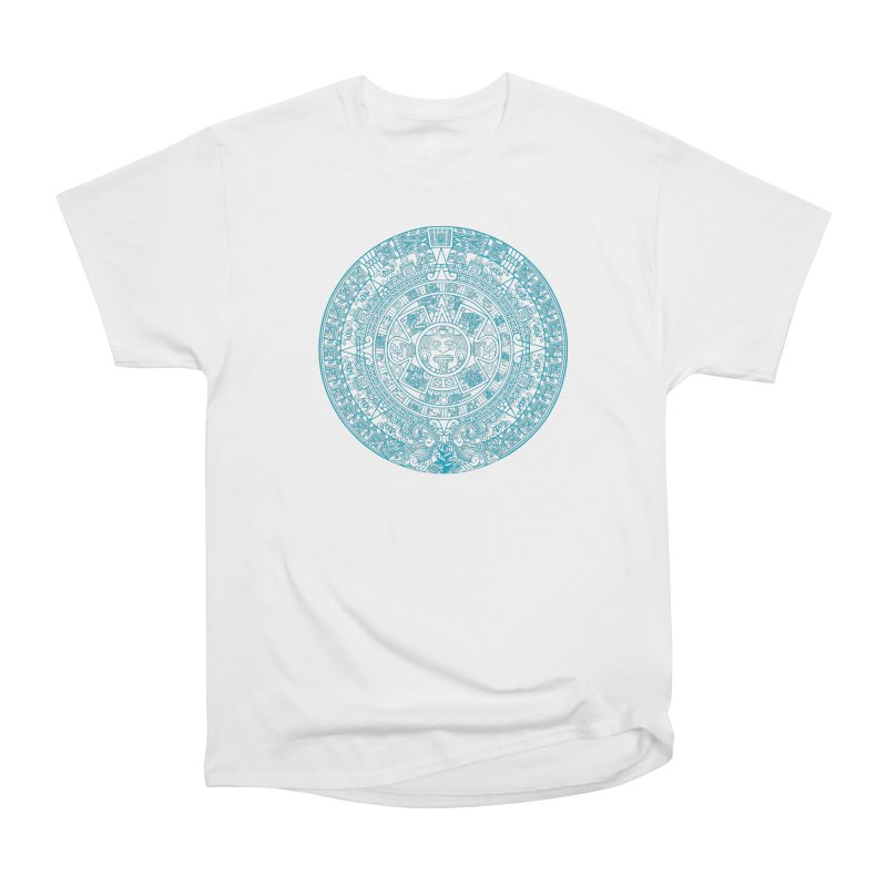 Mayan Calendar Aqua Men's Heavyweight T-Shirt by Caribea