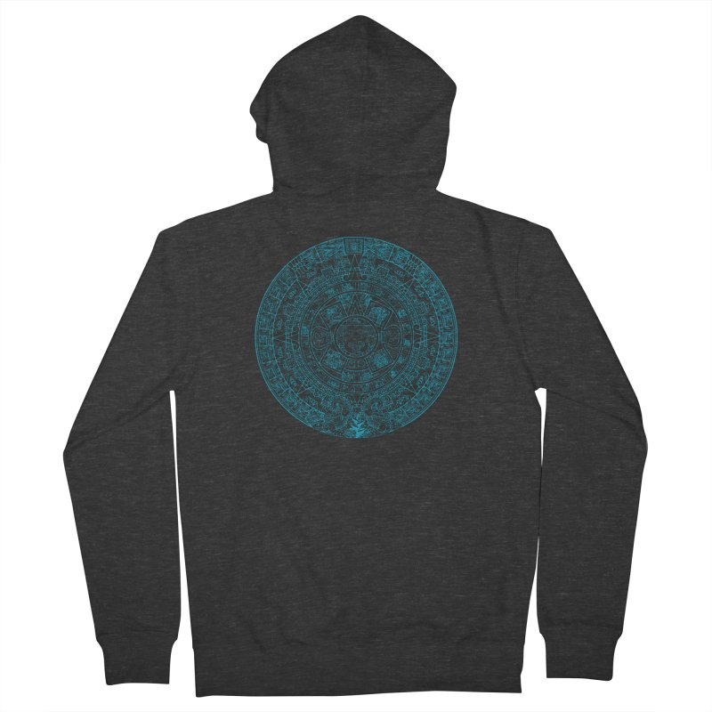 Mayan Calendar Aqua Women's French Terry Zip-Up Hoody by Caribea