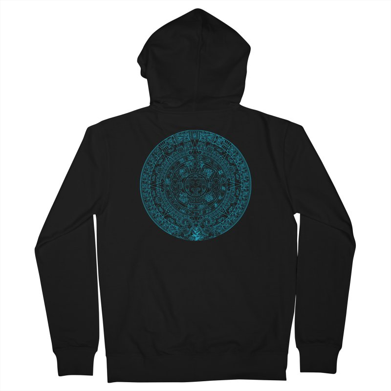 Mayan Calendar Aqua Men's French Terry Zip-Up Hoody by Caribea