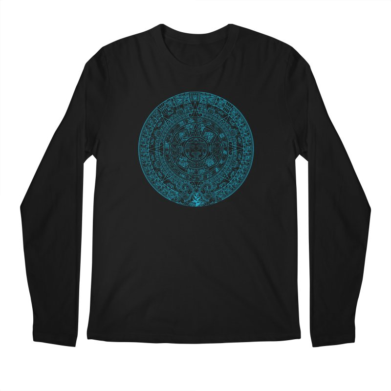Mayan Calendar Aqua Men's Regular Longsleeve T-Shirt by Caribea