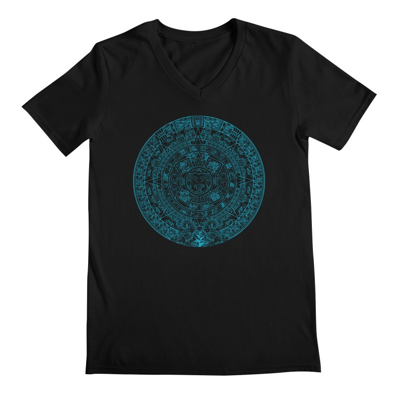 Mayan Calendar Aqua Men's Regular V-Neck by Caribea