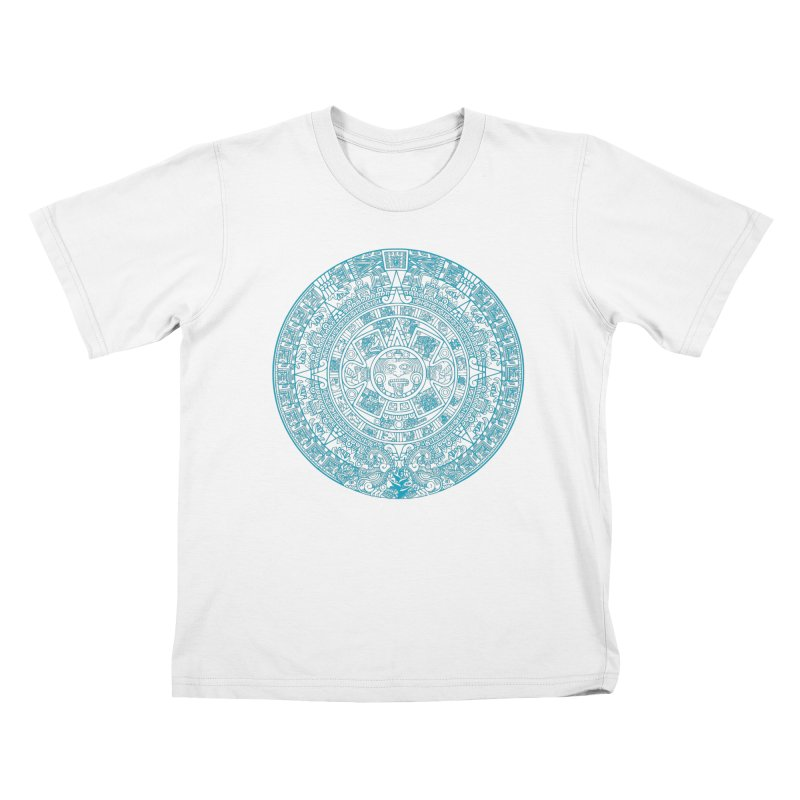 Mayan Calendar Aqua Kids T-Shirt by Caribea