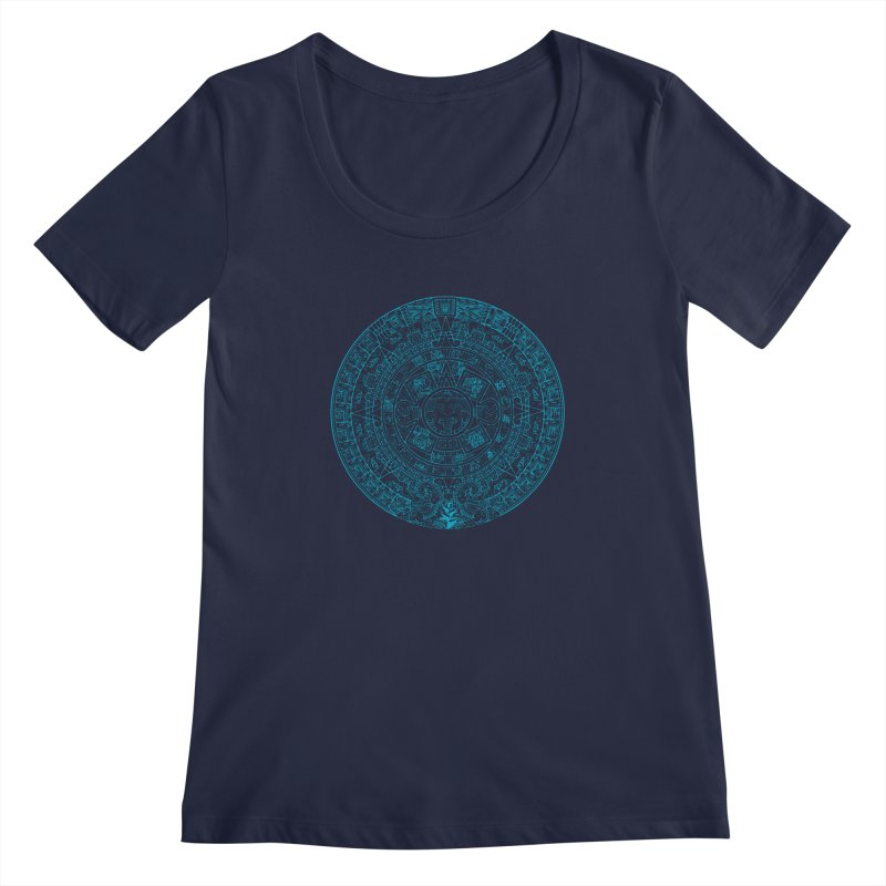 Mayan Calendar Aqua Women's Regular Scoop Neck by Caribea