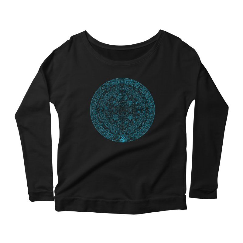 Mayan Calendar Aqua Women's Scoop Neck Longsleeve T-Shirt by Caribea