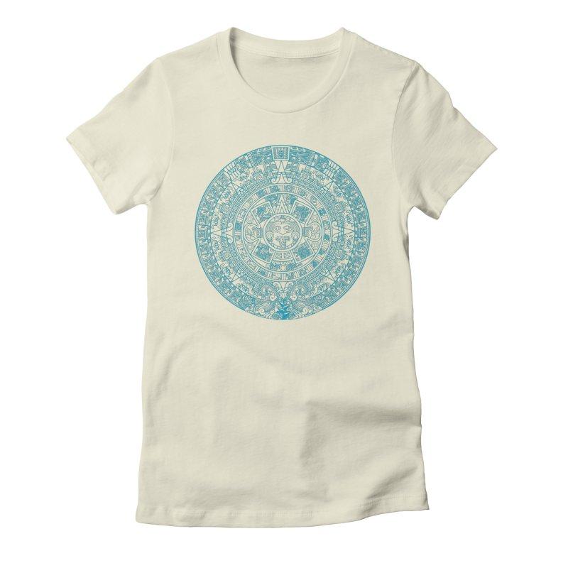 Mayan Calendar Aqua Women's T-Shirt by Caribea