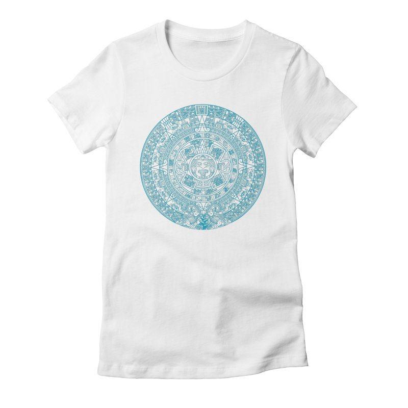 Mayan Calendar Aqua Women's Fitted T-Shirt by Caribea
