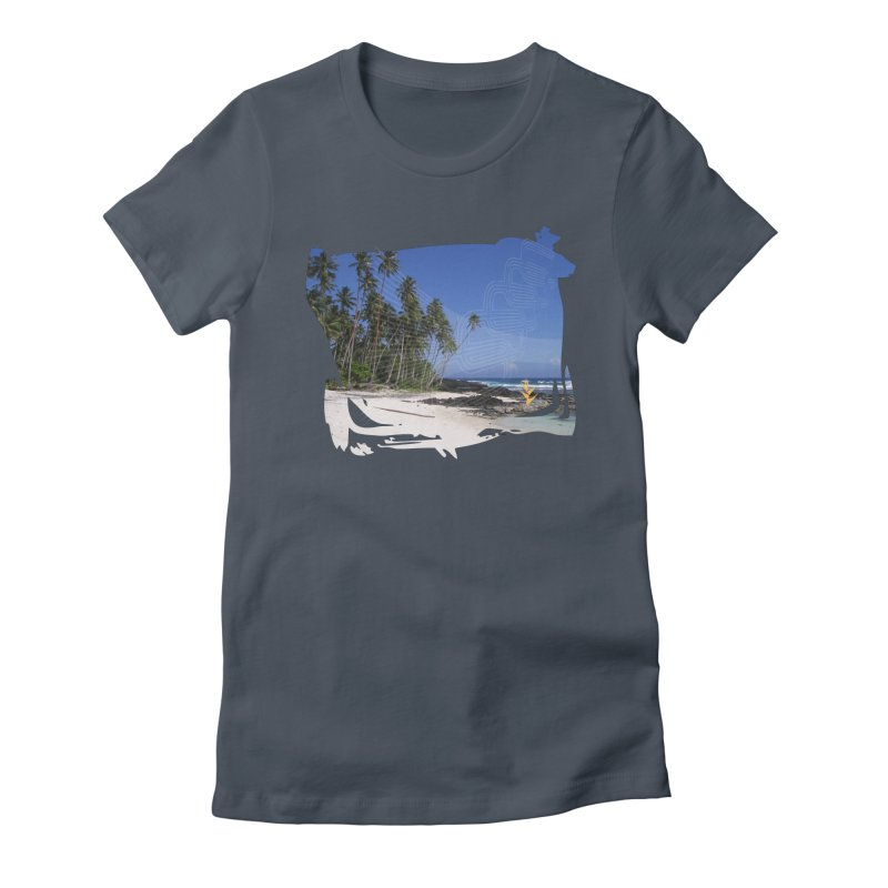 Grunge Beach Women's Fitted T-Shirt by Caribea