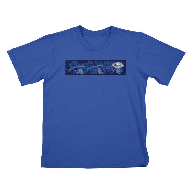 Caribea Dark Blue Floral Kids T-Shirt by Caribea