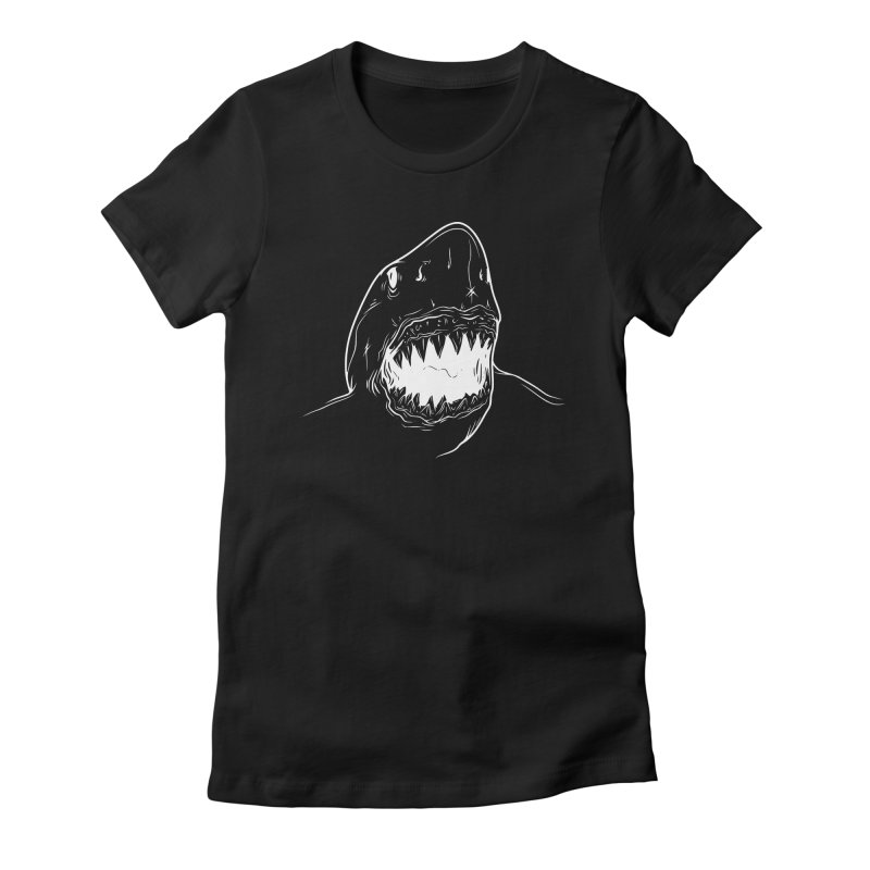 Caribea Great White Shark in Women's Fitted T-Shirt Black by Caribea