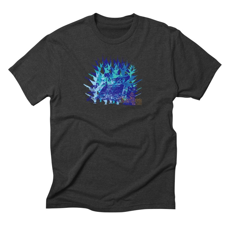 Blue Caribea Heliconia Grunge Men's Triblend T-Shirt by Caribea