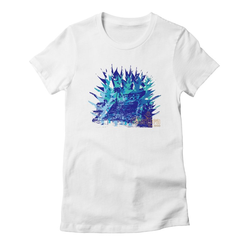 Blue Caribea Heliconia Grunge in Women's Fitted T-Shirt White by Caribea