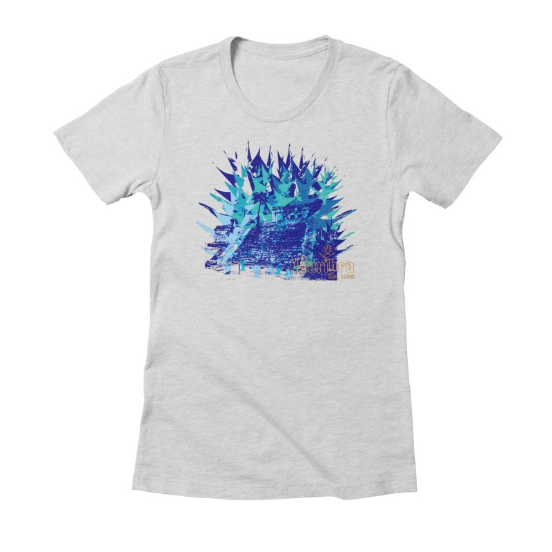 Blue Caribea Heliconia Grunge Women's Fitted T-Shirt by Caribea