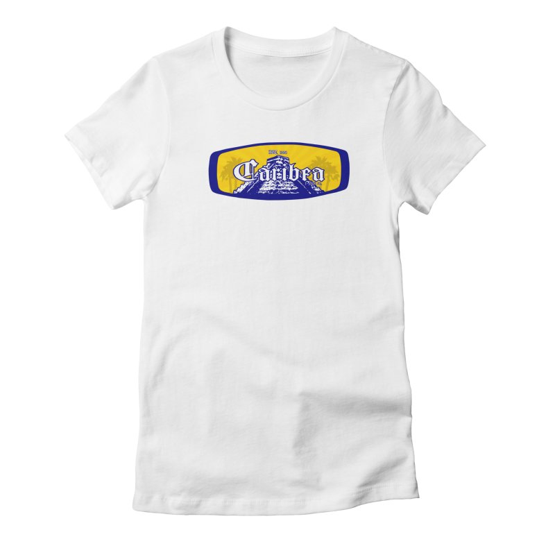 Mayan Sun Rays Blue Women's Fitted T-Shirt by Caribea