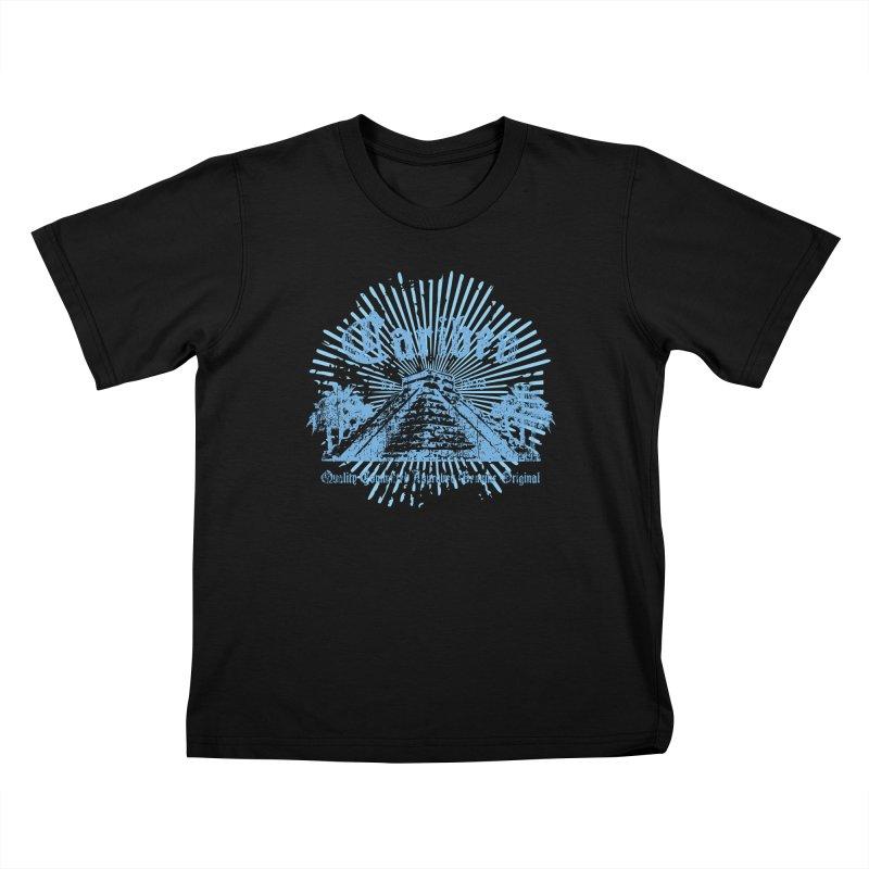 Pyramid Burst Blue Kids T-Shirt by Caribea