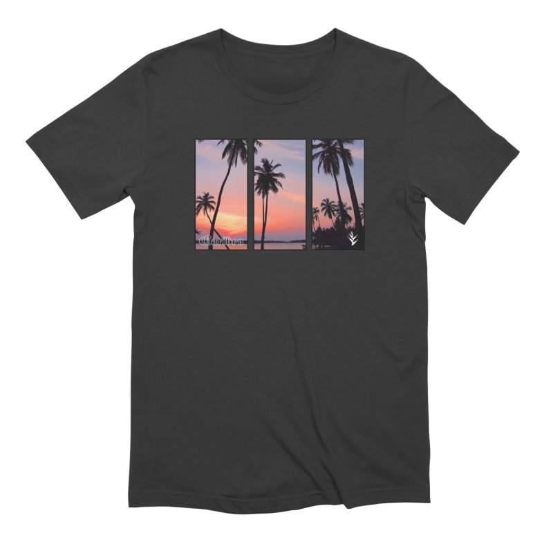 Palm Island Sunset in Men's Extra Soft T-Shirt Smoke by Caribea