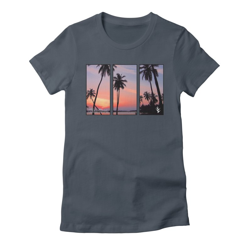 Palm Island Sunset Women's Fitted T-Shirt by Caribea