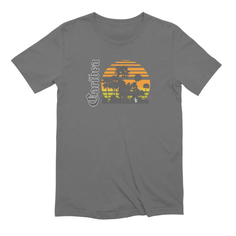 Sunset Palms Beach in Men's Extra Soft T-Shirt Asphalt by Caribea
