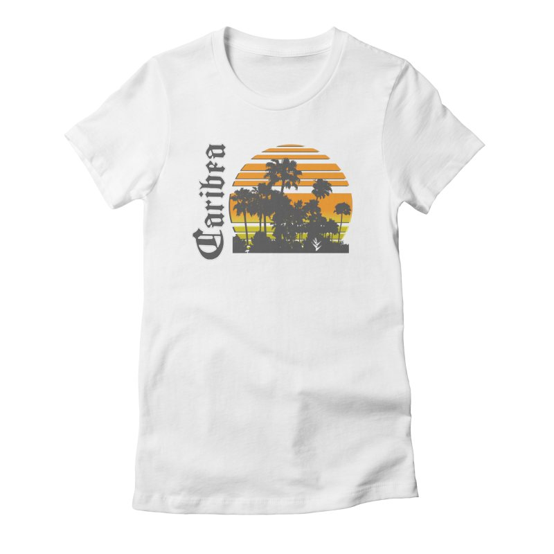 Sunset Palms Beach Women's Fitted T-Shirt by Caribea
