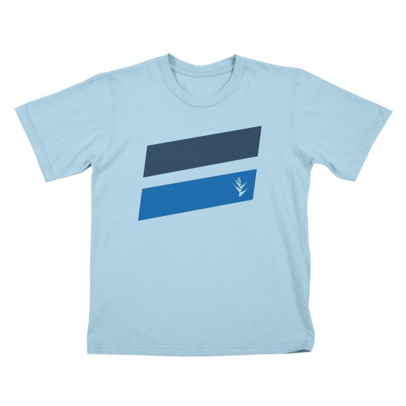 Slants Deep Blue Kids T-Shirt by Caribea