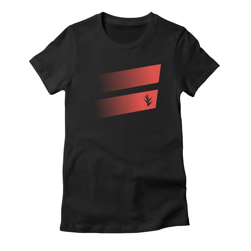 Caribea Red to Black Slants Women's Fitted T-Shirt by Caribea