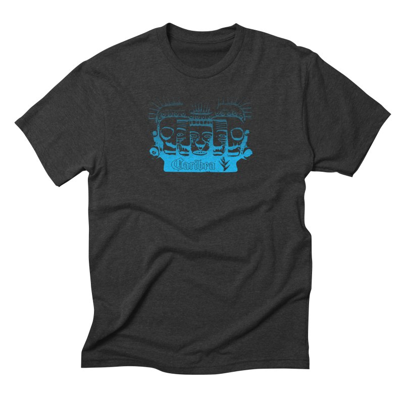 Mayan Faces Blue Men's Triblend T-Shirt by Caribea
