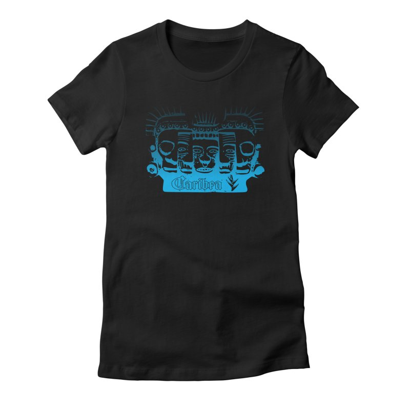 Mayan Faces Blue in Women's Fitted T-Shirt Black by Caribea
