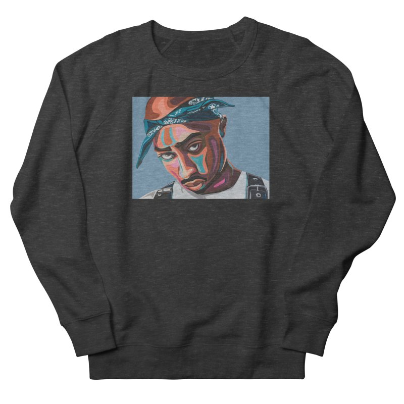 Tupac Men's French Terry Sweatshirt by Carla Mooking Artist Shop
