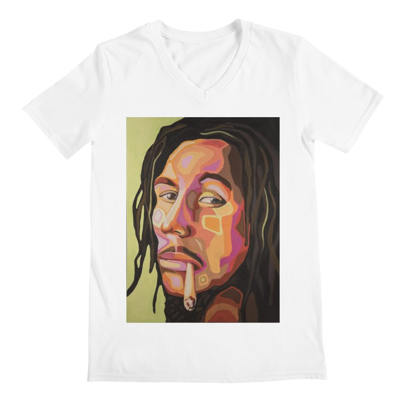 Bob Marley Men's V-Neck by Carla Mooking Artist Shop