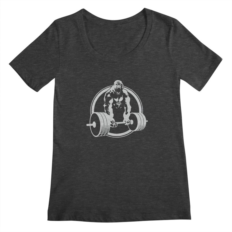 Gorilla Lifting Fitness Gym Tee Women's Scoopneck by carlhuber's Artist Shop