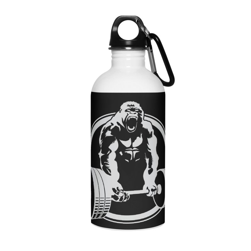 Gorilla Lifting Fitness Gym Tee Accessories Water Bottle by Carl Huber's Artist Shop