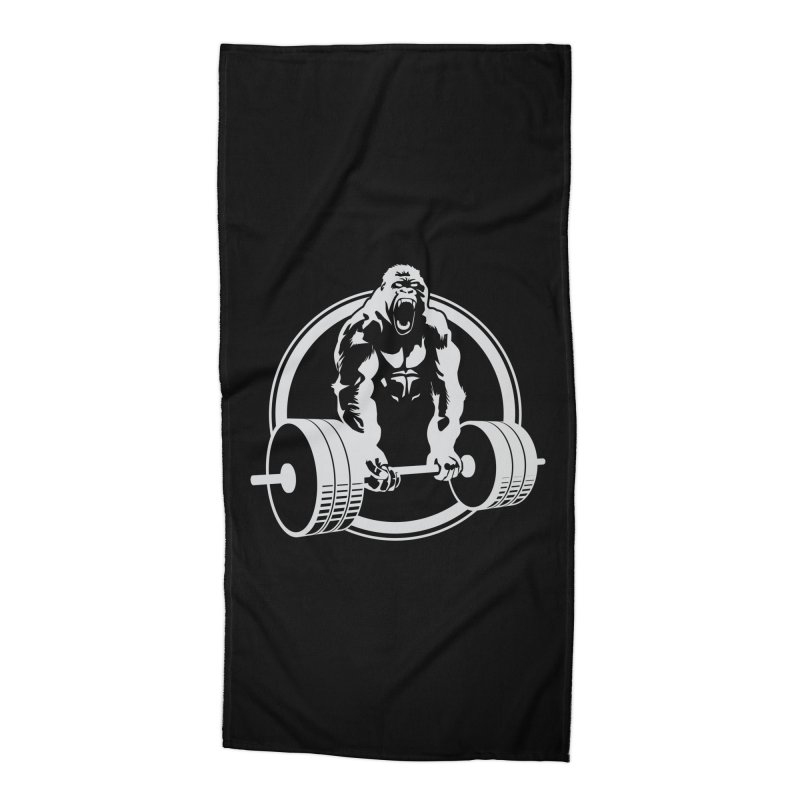Gorilla Lifting Fitness Gym Tee Accessories Beach Towel by Carl Huber's Artist Shop