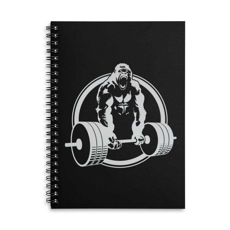 Gorilla Lifting Fitness Gym Tee Accessories Notebook by carlhuber's Artist Shop
