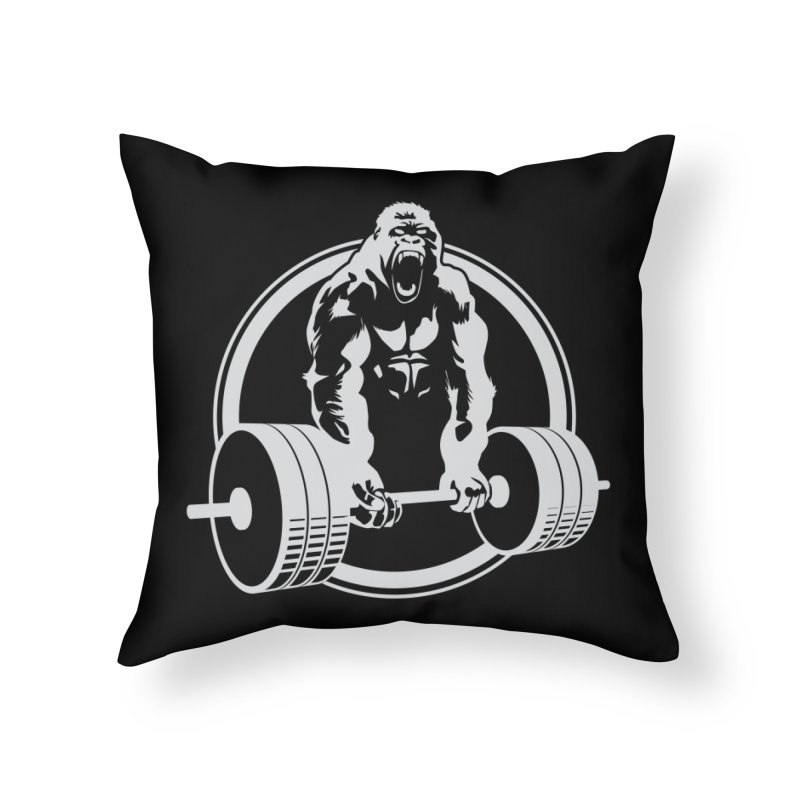 Gorilla Lifting Fitness Gym Tee Home Throw Pillow by carlhuber's Artist Shop