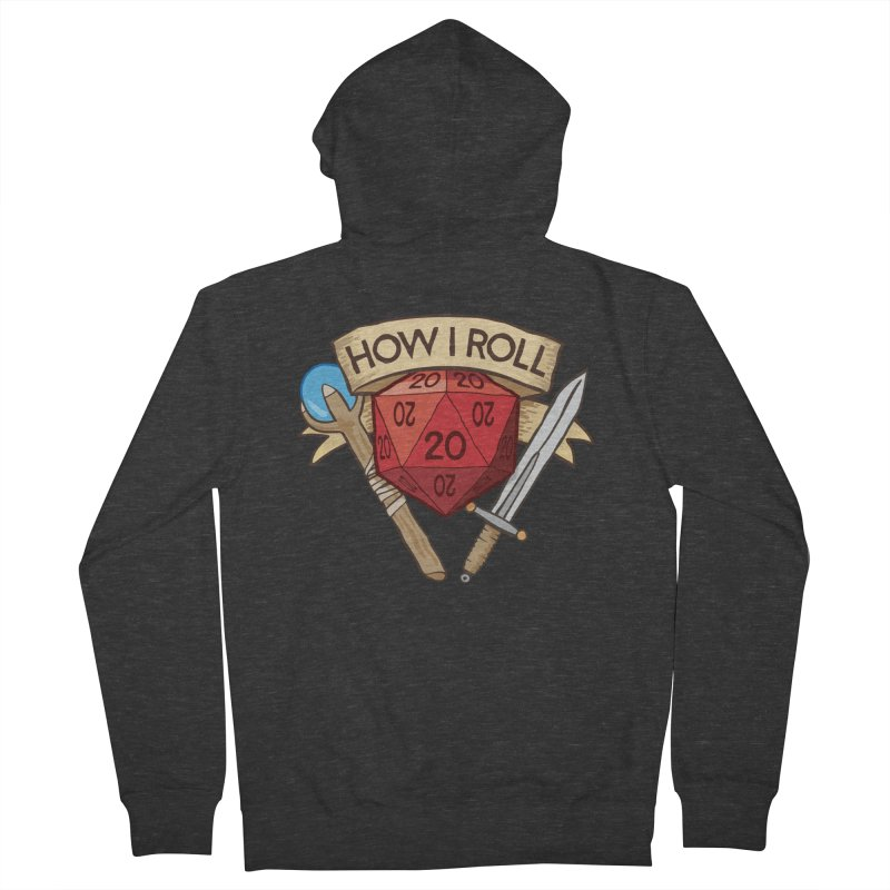 How I Roll Dungeons and Dragons Dice d20 Men's French Terry Zip-Up Hoody by carlhuber's Artist Shop