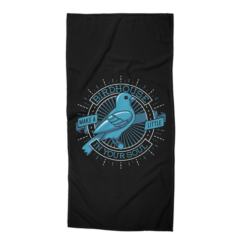 Blue Canary in the Birdhouse in your Soul Accessories Beach Towel by carlhuber's Artist Shop