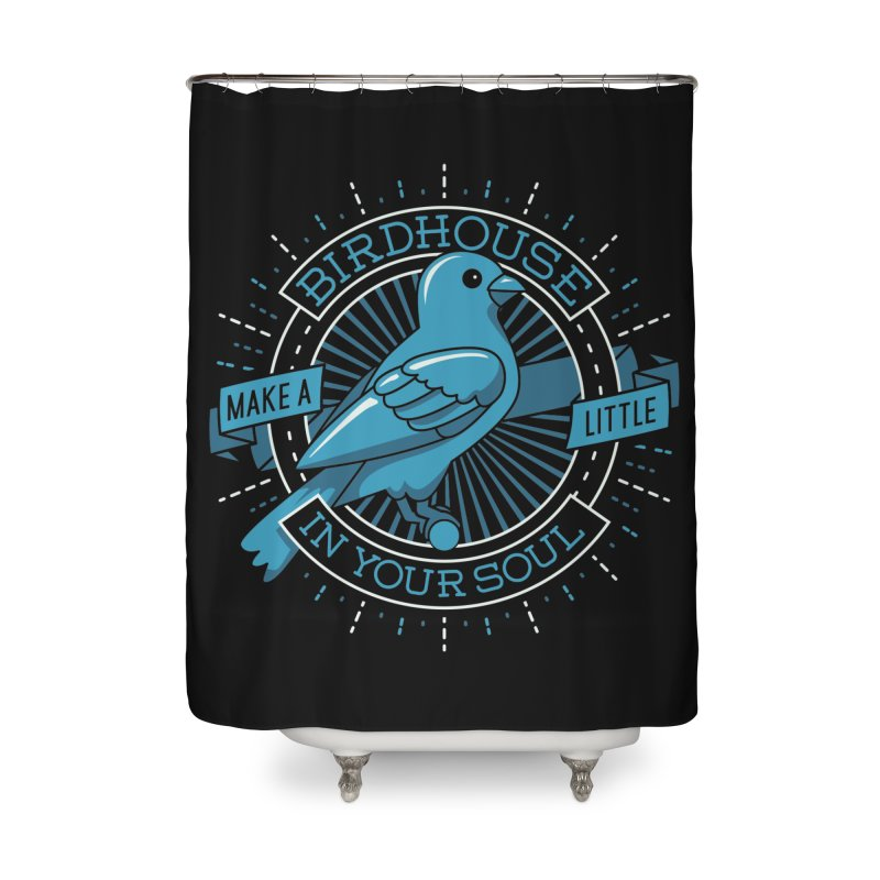 Blue Canary in the Birdhouse in your Soul Home Shower Curtain by carlhuber's Artist Shop