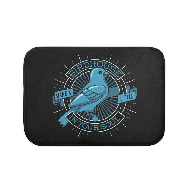 Blue Canary in the Birdhouse in your Soul Home Bath Mat by Carl Huber's Artist Shop