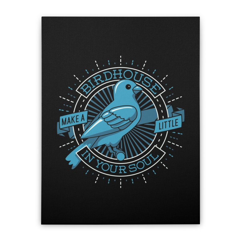 Blue Canary in the Birdhouse in your Soul Home Stretched Canvas by Carl Huber's Artist Shop