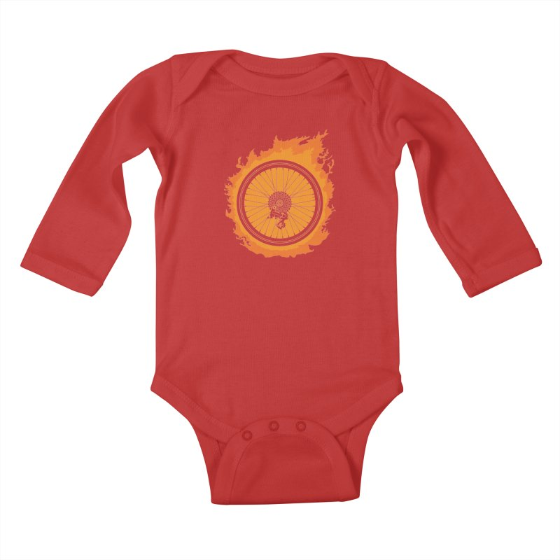 Bike Fire Kids Baby Longsleeve Bodysuit by Carl Huber's Artist Shop