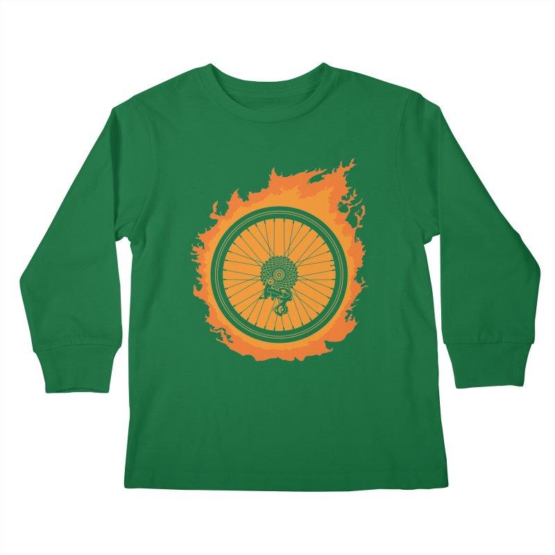 Bike Fire Kids Longsleeve T-Shirt by Carl Huber's Artist Shop