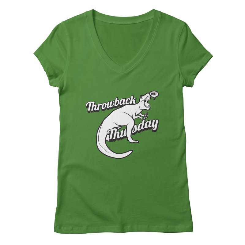 Throwback Thursday T-Rex in Women's Regular V-Neck Leaf by carlhuber's Artist Shop