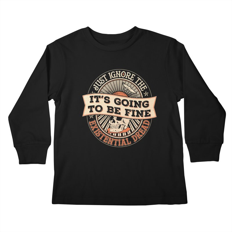 Existential Dread Skull Kids Longsleeve T-Shirt by carlhuber's Artist Shop