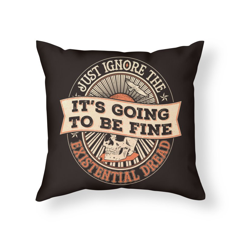 Existential Dread Skull Home Throw Pillow by carlhuber's Artist Shop