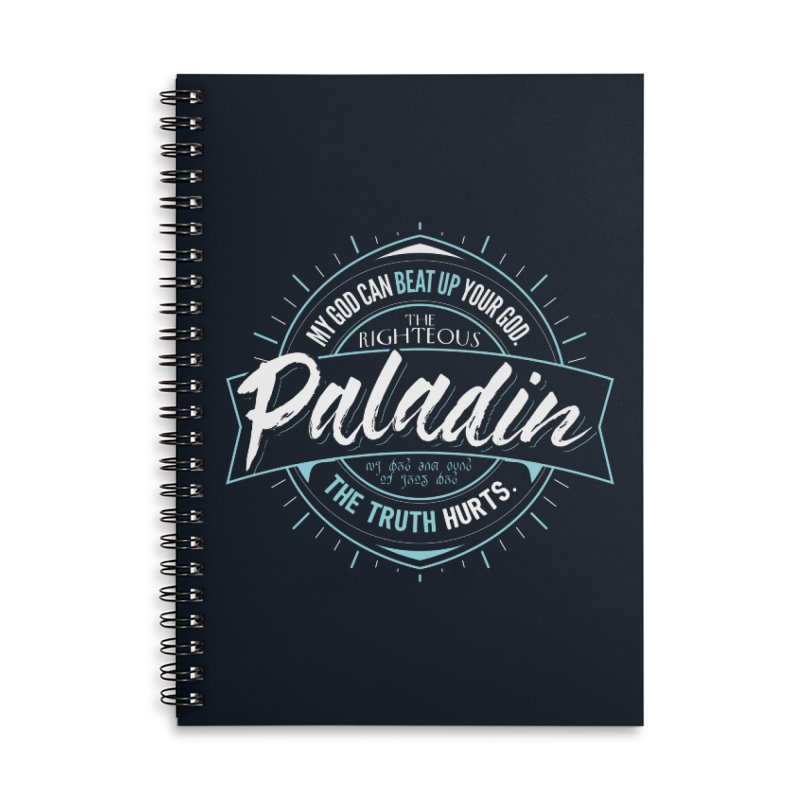 D&D Paladin Accessories Lined Spiral Notebook by Carl Huber's Artist Shop