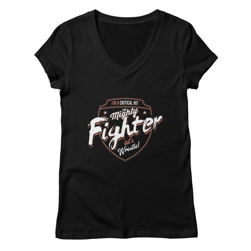 D&D Fighter Women's Regular V-Neck by Carl Huber's Artist Shop
