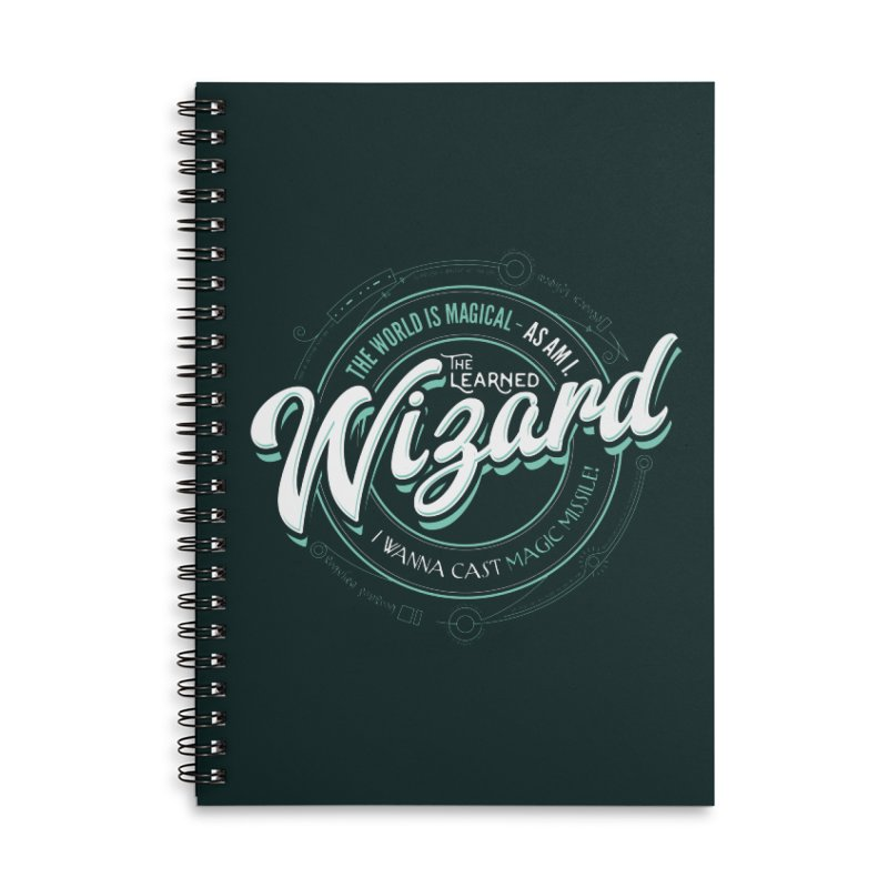 D&D Wizard Accessories Lined Spiral Notebook by Carl Huber's Artist Shop