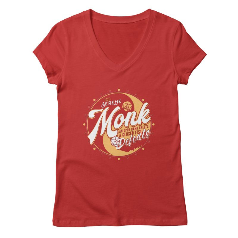 D&D Monk Women's Regular V-Neck by Carl Huber's Artist Shop