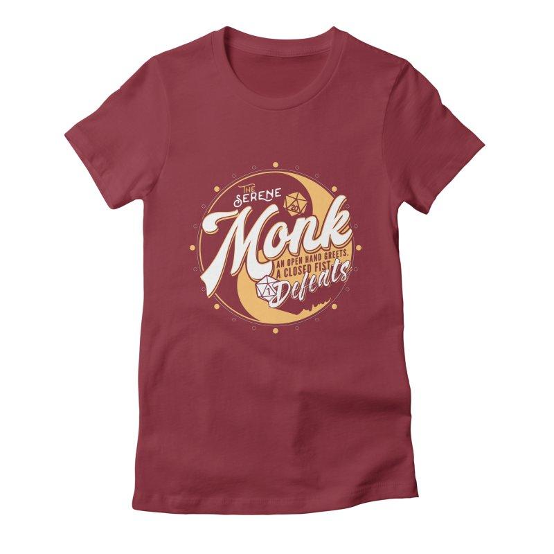 D&D Monk Women's Fitted T-Shirt by Carl Huber's Artist Shop