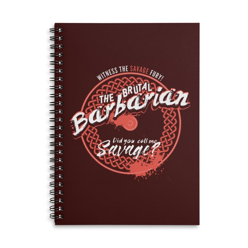 D&D Barbarian Accessories Lined Spiral Notebook by Carl Huber's Artist Shop